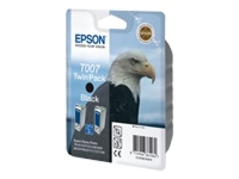 Epson T007 16ml Black Ink Cartridge 540 Pages - Twin Pack