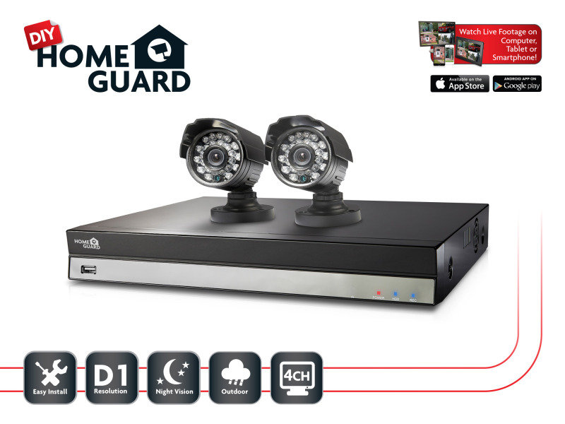 Storage Options Homeguard DIY CCTV Kit 4 Channel  2 Camera