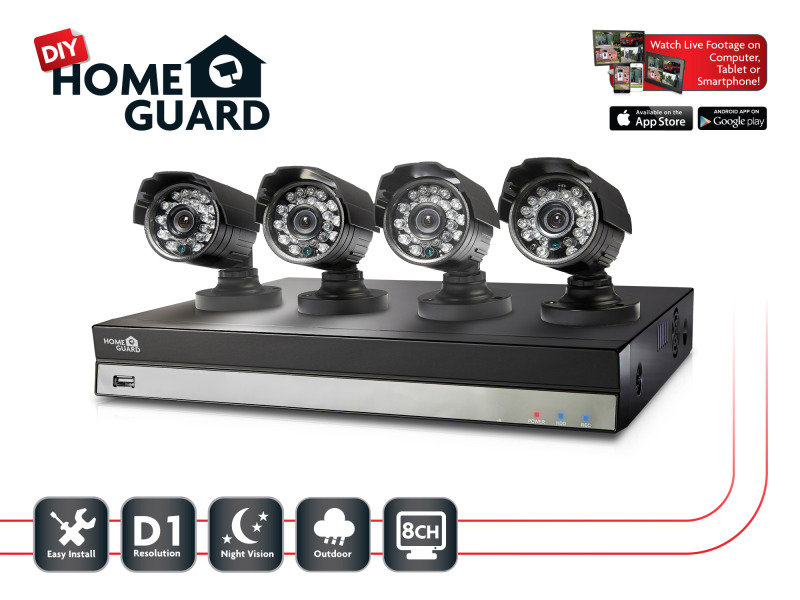 Storage Options Homeguard DIY CCTV Kit 8 Channel  4 Camera