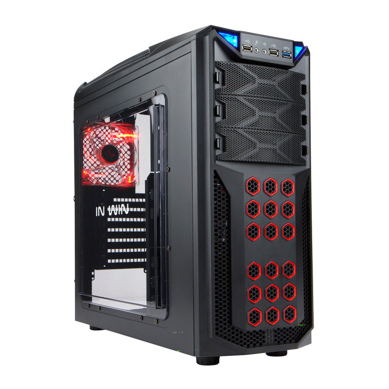 InWin GT1 Black Midi Tower Gaming Case USB3 Toolless Red LED Fan