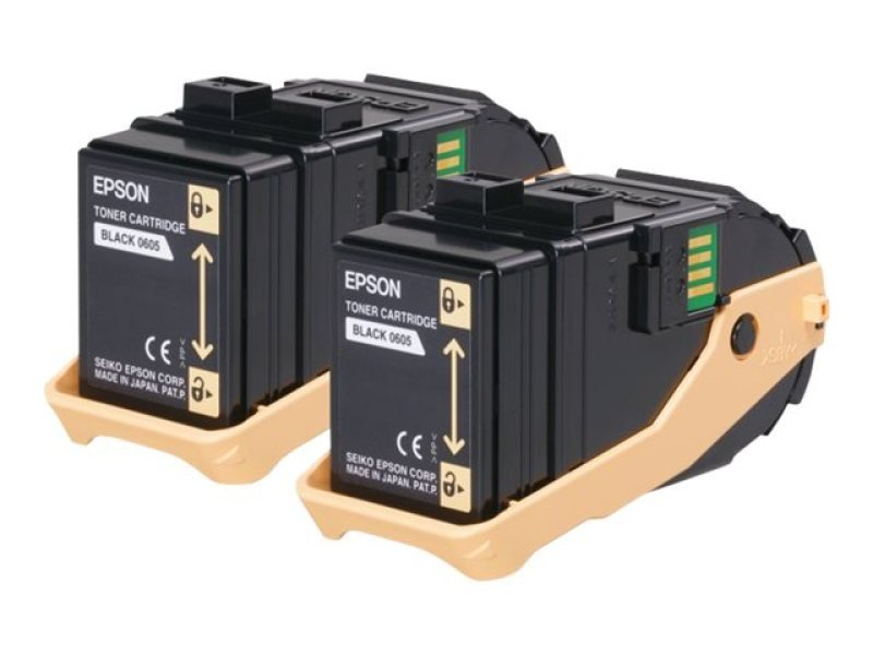 Epson 0609 High Capacity Toner Cartridges Yield 7500 Pages Black 2 Pack For Aculaser C9300n Series Colour Laser Printer