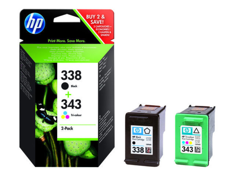 HP 338/343 Ink Cartridge Combo Pack - SD449EE