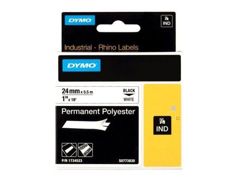 Dymo Black on White Permanent Polyester Tape 24mm