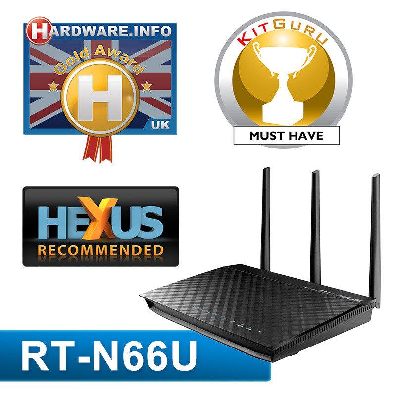 Image of ASUS RT-N66U - Black Diamond Dual-Band Wireless-N450 Gigabit Router