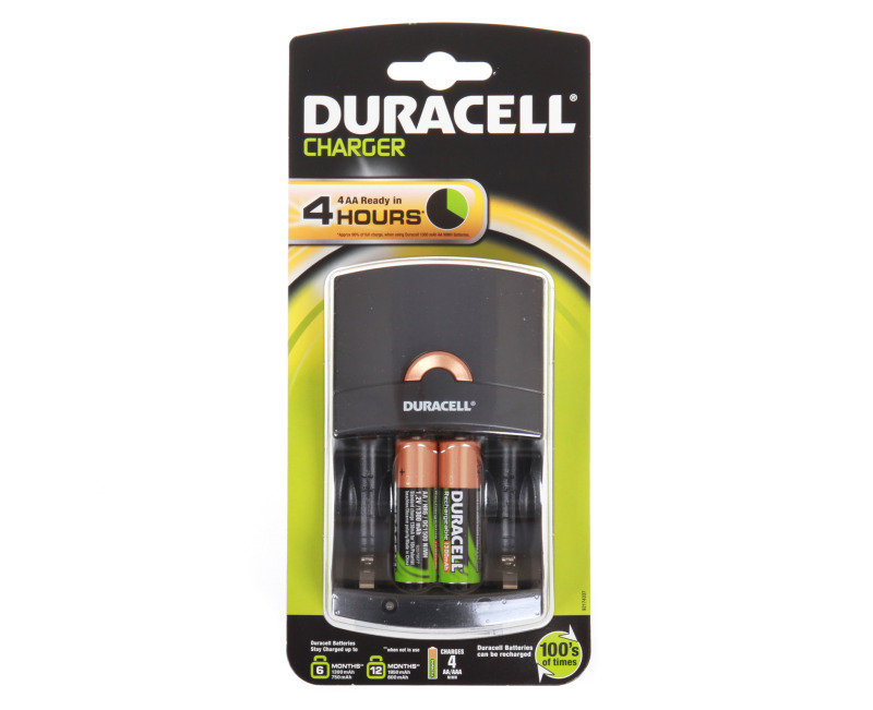 Duracell 4 Hour Battery Charger  2x AA Rechargeable Batteries