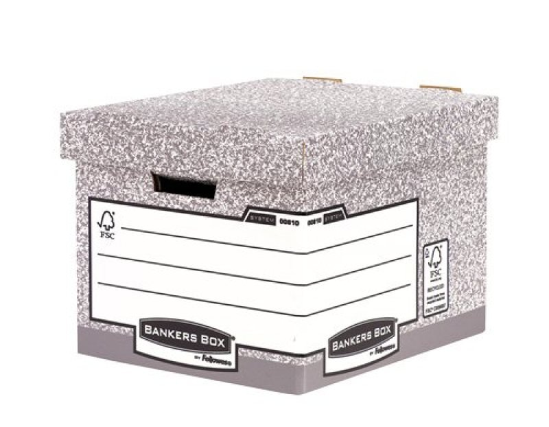 Fellowes Bankers Storage Box with Fastfold Automatic Assembly - 10 Pack