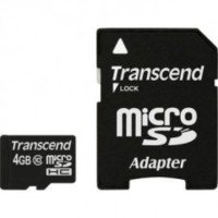 Transcend 4GB Micro SDHC Class 10 Memory Card with SD Adpapter