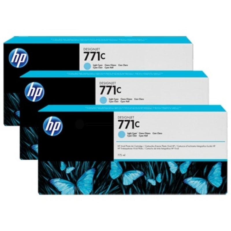 HP 711C 775ml Light Cyan 3 Pack Ink Cartridge  B6Y36A