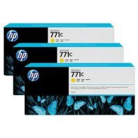 HP 711C Yellow Original, Multi-pack Ink Cartridge - Standard Yield 3 x 775ml - B6Y34A
