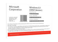 Windows 8.1 32/ 64Bit OEM- DSP- Medialess