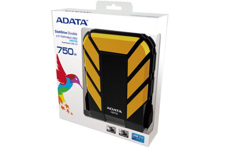 Image of Adata Dashdrive Durable Hd710 (500gb) Usb 3.0 External Waterproof Hard Drive (yellow)