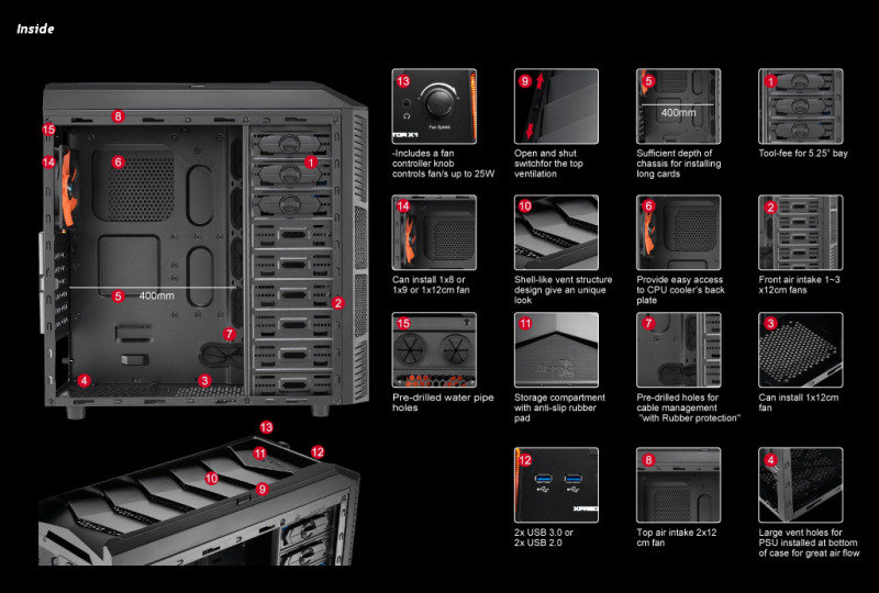 Aerocool X-Predator X1 Evil Black Gaming Case Black Interior 12cm Orange LED