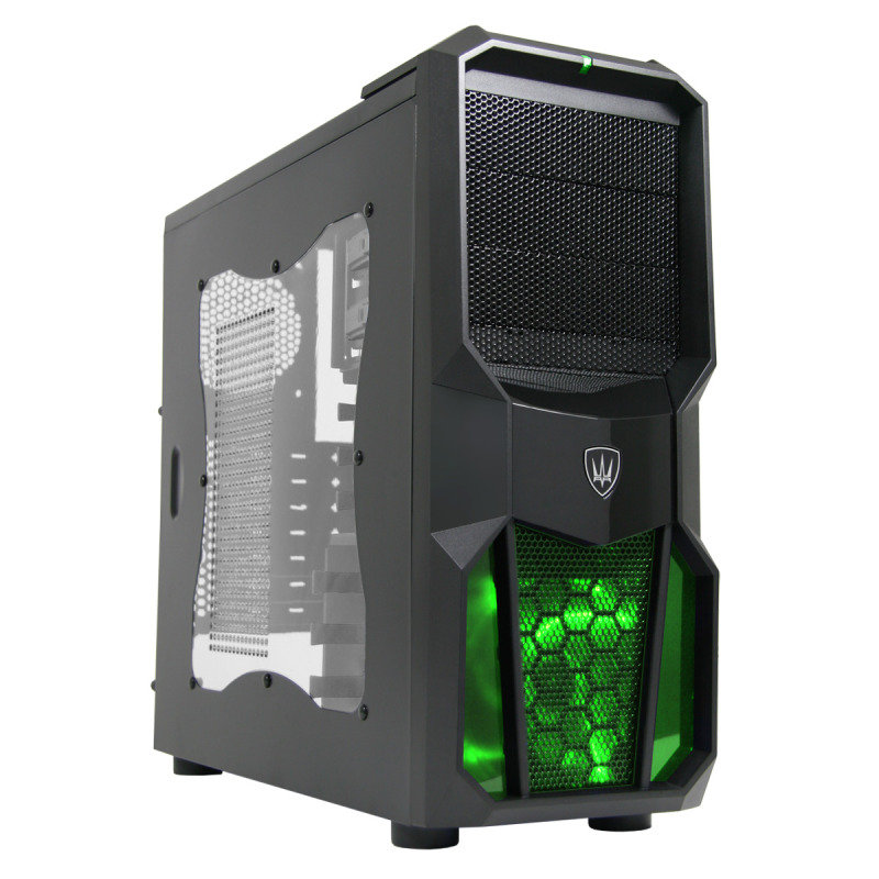 CiT Neptune Gaming Case 12CM Green LED Fan Side Window Black Screwless Bays