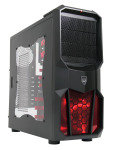 CiT Neptune Gaming Case 12CM Red LED Fan Side Window Red Screwless Bays