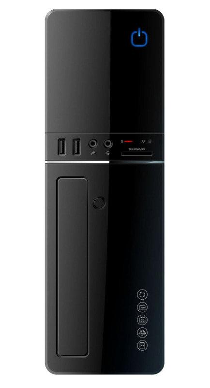 CiT S012B Black Slim Micro ATX or ITX Case 300w PSU Built-in Card-reader