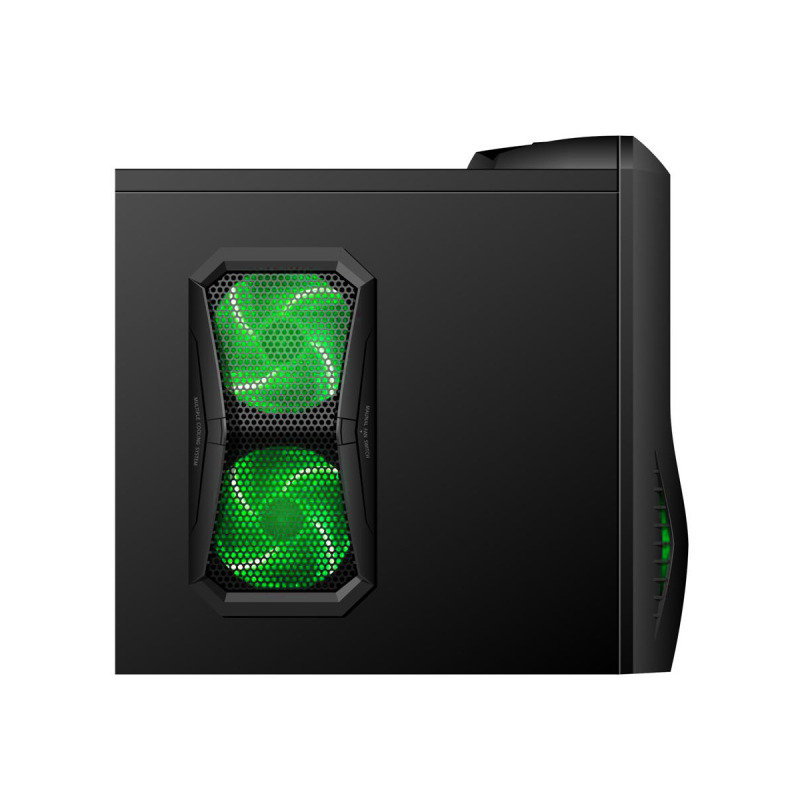 CiT Vantage Gaming Case Black HD Audio Black Interior Green LED Fans Card Reader