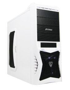 CiT Vantage White Gaming Case Black Interior 4 Fans HD Audio Card Reader No PSU