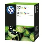 HP 301XL Multi-pack 2x Tri-Colour Original Ink Cartridge - High Yield 2x 330 Pages - D8J46AE