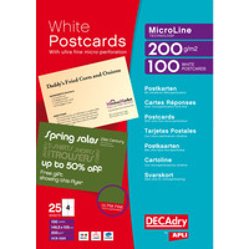 Image of Decadry Postcards A4 Micro-perforated Sheet White (Pack of 100)
