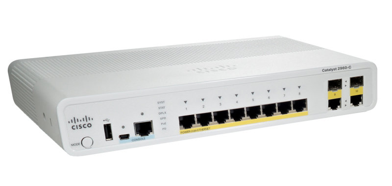 Cisco Catalyst Compact 2960C-8TC-S - Switch - Managed - 8 x 10/100 + 2 x shared Gigabit SFP