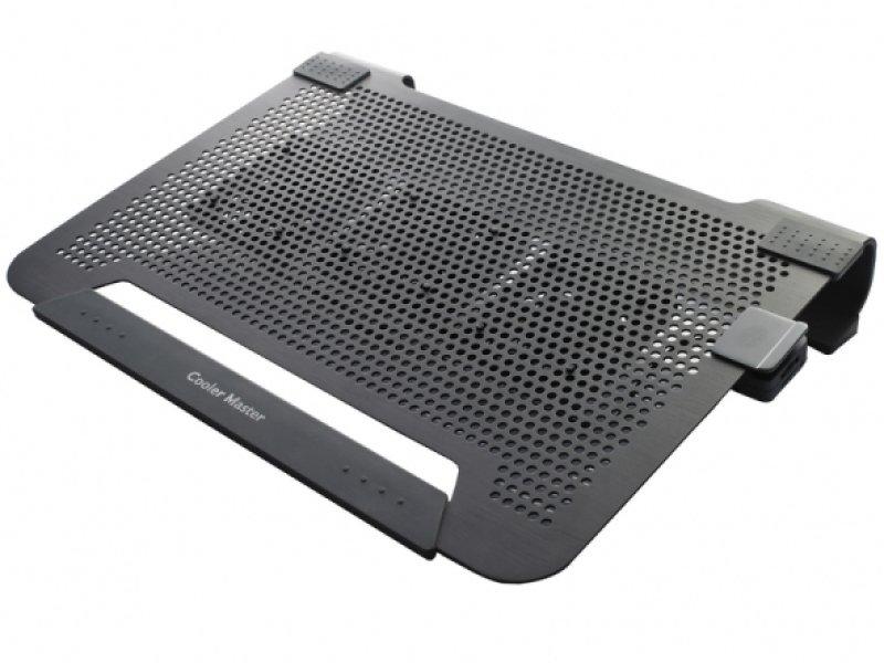Cooler Master Notepal U3 Plus Laptop Cooler  Black  Upto 19 Laptop Or Macbook  Moveable Fan Edition 3 X 8cm Fan
