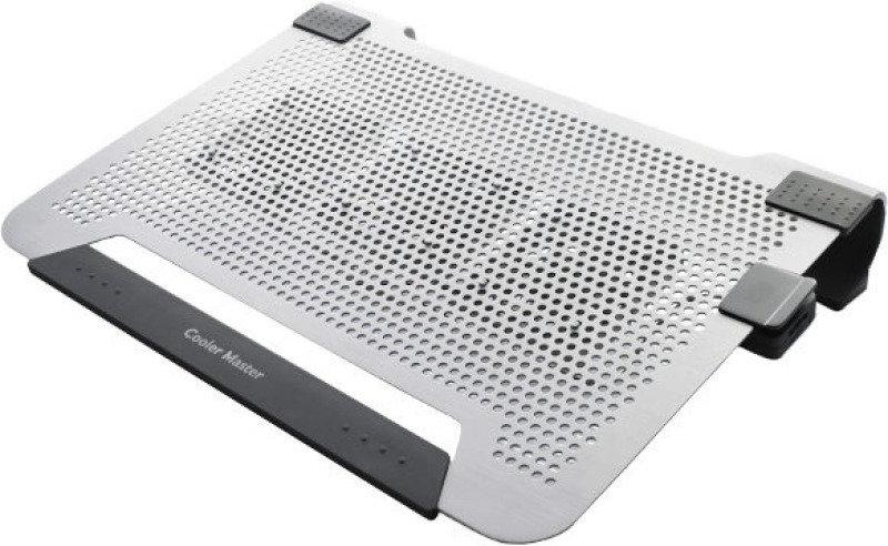 Cooler Master Notepal U3 Plus Laptop Cooler  Silver Upto 19&39&39 Laptop Or Macbook  Moveable Fan Edition 3 X 8cm Fan