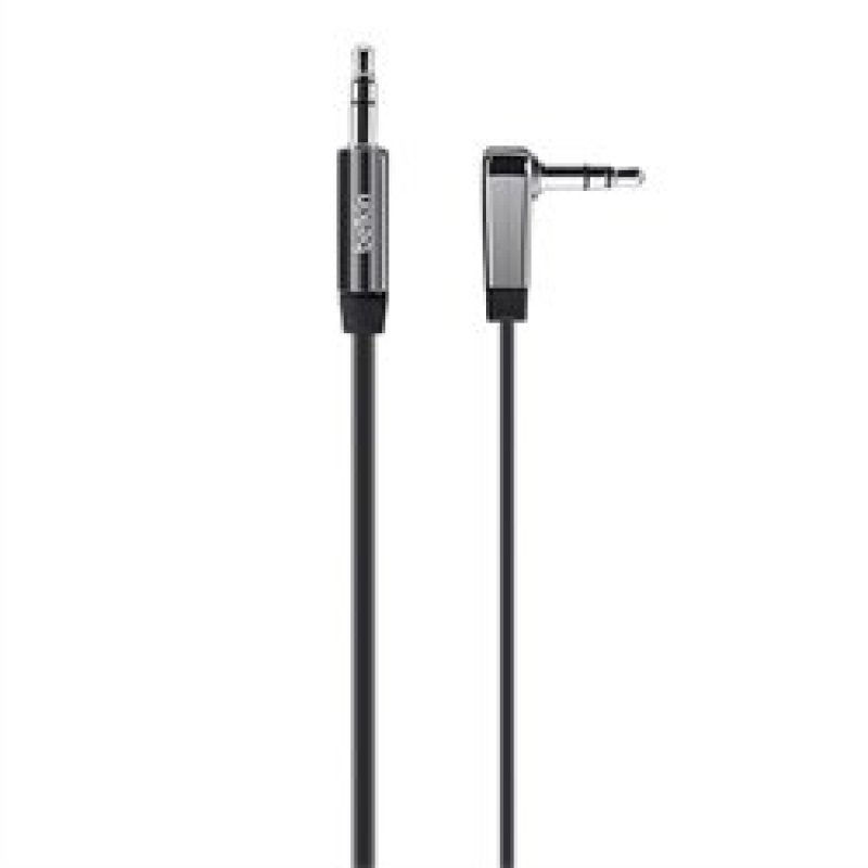 Belkin AV10128BT06 3.5mm Flat Right Angle AUX Cable 1.8m in Black