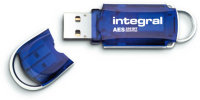 Integral Courier Advanced Encryption Standard (AES) 16GB USB 2.0 Encrypted Flash Drive Blue