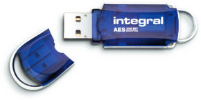 Integral Courier Advanced Encryption Standard (AES)  4GB USB 2.0 Encrypted Flash Drive Blue