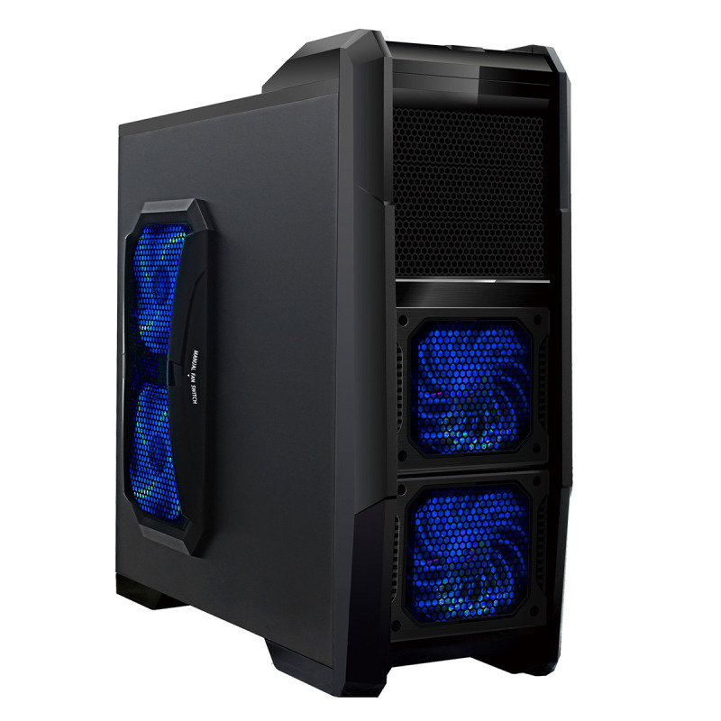 Image of CiT Dominator 4 x 12CM Blue LED Fans USB3 Card Reader Black Interior Fan Control