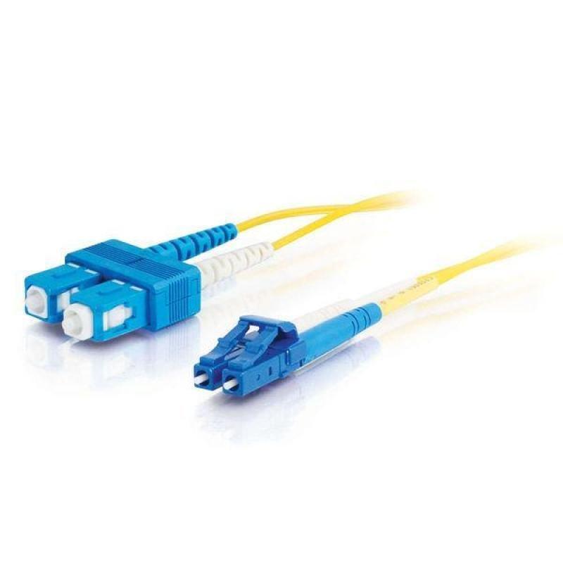 C2G 1m LC-SC 9/125 OS1 Duplex Singlemode PVC Fibre Optic Cable (LSZH) - Yellow