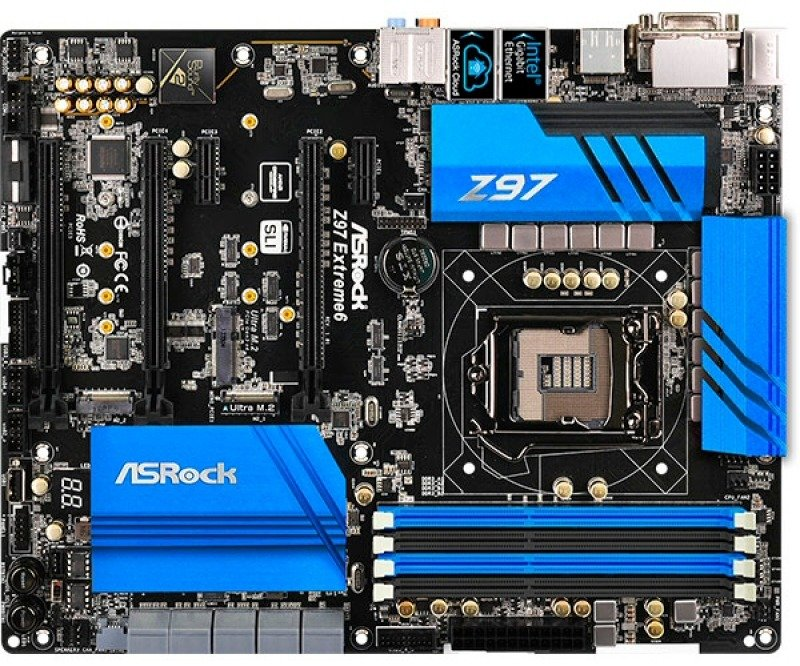 Asrock Z97 Extreme6 Socket LGA 1150 DVI HDMI DisplayPort 7.1 Channel HD Audio ATX Motherboard