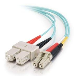C2G LC-SC 10Gb 50/125 OM3 Duplex Multimode PVC Fiber Optic Cable (LSZH) - Network cable - LC multi-mode (M) - SC multi-mode (M) - 30 m - fibre optic - 50 / 125 micron - OM3 - halogen-free - aqua