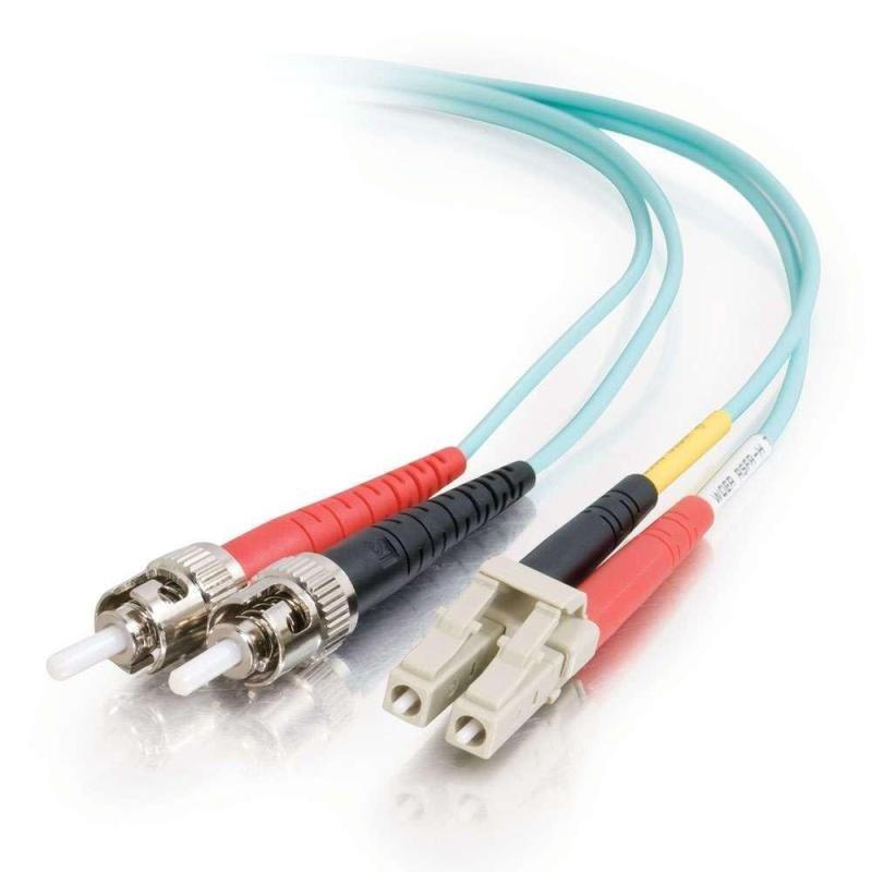 10m LC-ST 10Gb 50/125 OM3 Duplex Multimode PVC Fibre Optic Cable (LSZH) - Aqua