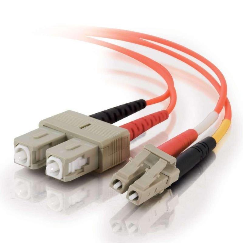 15m LC-SC 50/125 OM2 Duplex Multimode PVC Fibre Optic Cable (LSZH) - Orange