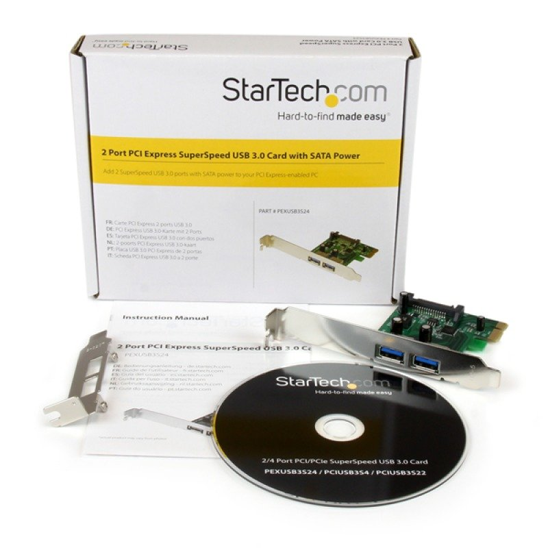 StarTech.com 2 Port PCI Express (PCIe) USB 3.0 Card with UASP - SATA Power