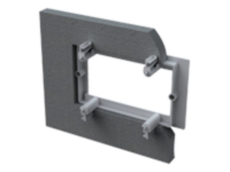 VISION TECHCONNECT V2 DOUBLE-GANG FLUSH-MOUNT UK MUDRING Standard double-gang UK flush-mount mudring for hollow walls