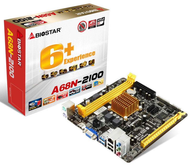 Image of Biostar A68N-2100 Ver. 6.x AMD Fusion APU VGA HDMI 6-Channel HD Audio Mini ITX Motherboard