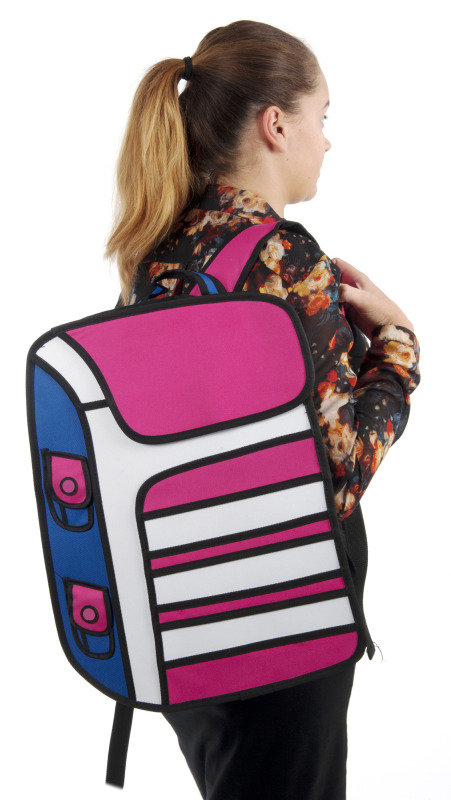 Image of 2D cartoon backpack in pink with white stripes