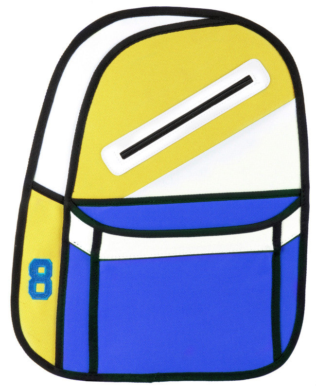 Image of 2D cartoon backpack Yellow and Blue
