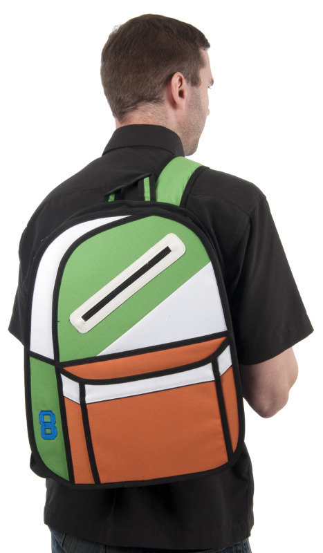 Image of 2D cartoon backpack in green and orange