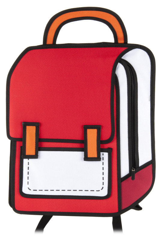 Image of 2D Cartoon Backpack in red and white