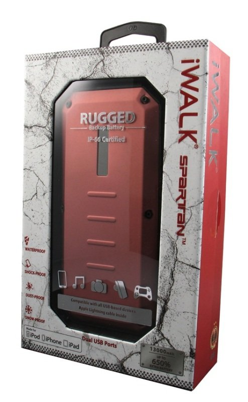 Image of Iwalk Extreme Ubt13000d Spartan Rugged Outdoor Dual Usb Rechargeable 13000mah Backup Battery (red) For Smartphones And Tablets