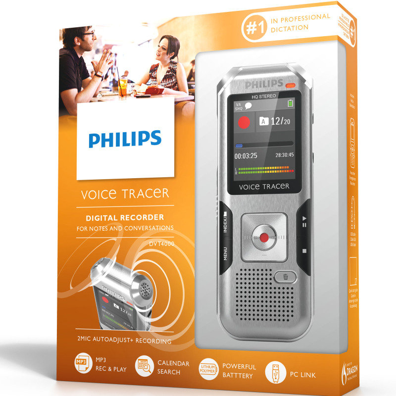 philips voicetracer dvt4000  4gb  digital voice recorder