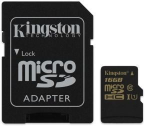 16GB Kingston UHS-I Class 10 MicroSD Card + adapter