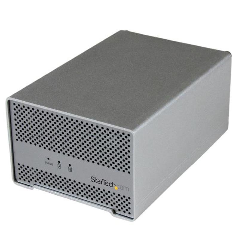 StarTech.com Thunderbolt Dual Hard Drive Enclosure with Thunderbolt Cable