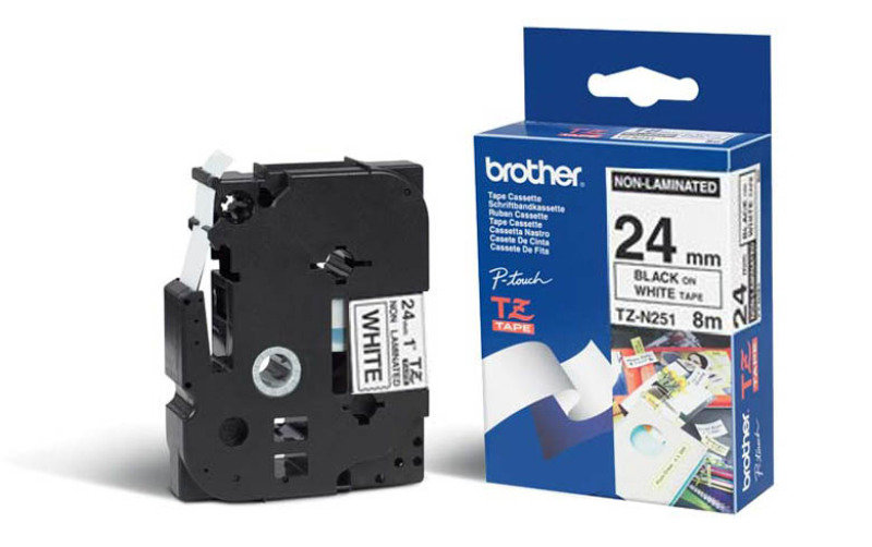 Brother TZEN251 Black on White Non-Laminated Tape