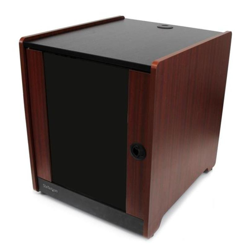 StarTech.com 12U Office Server Cabinet with Wood Finish and Casters