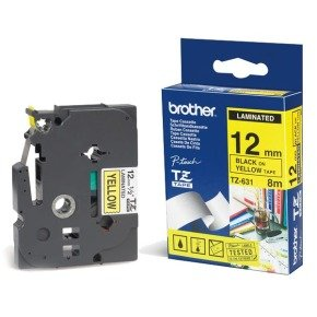 Brother TZE-631 Laminated Tape - Black on Yellow