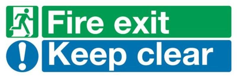 FIRE EXIT KEEP CLEAR 15X45 PVC EC08S/R